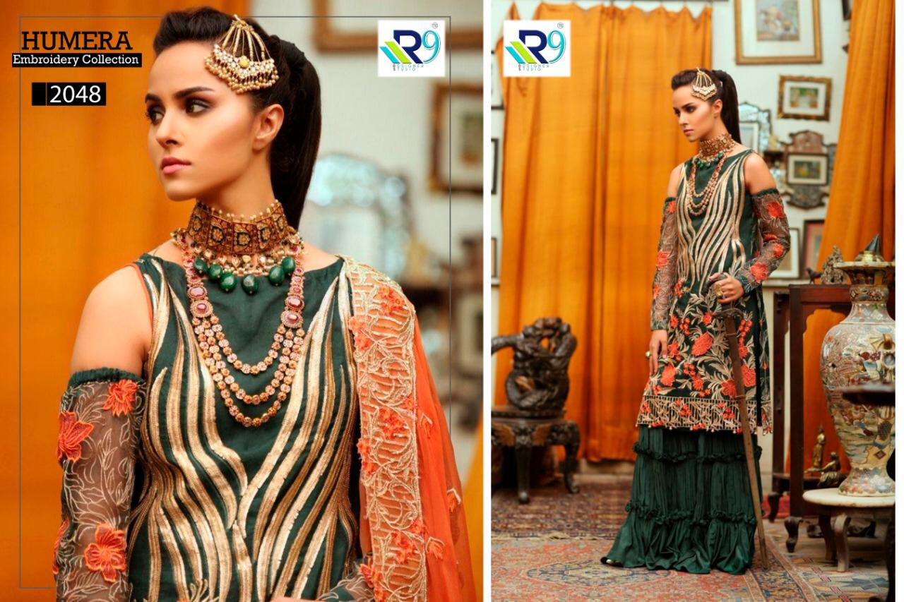 R9 Designer Humera Embroidery Collection Faux Georgette And Heavy Net Embroidered Pakistani Suits At Wholesale Rate
