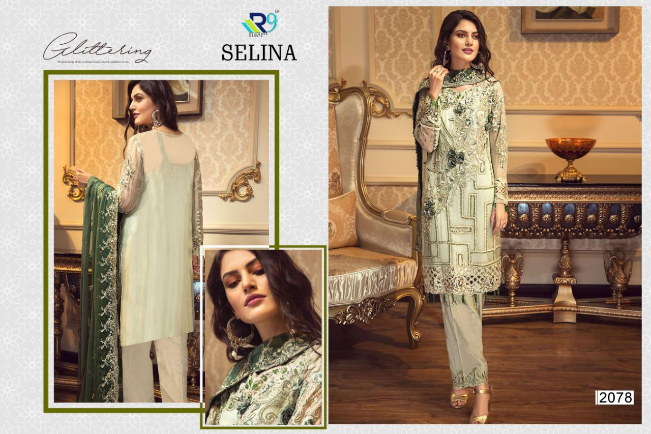 R9 Designer Selina Faux Georgette With Heavy Embroidery Handwork Pakistani Dress Material At Wholesale Rate