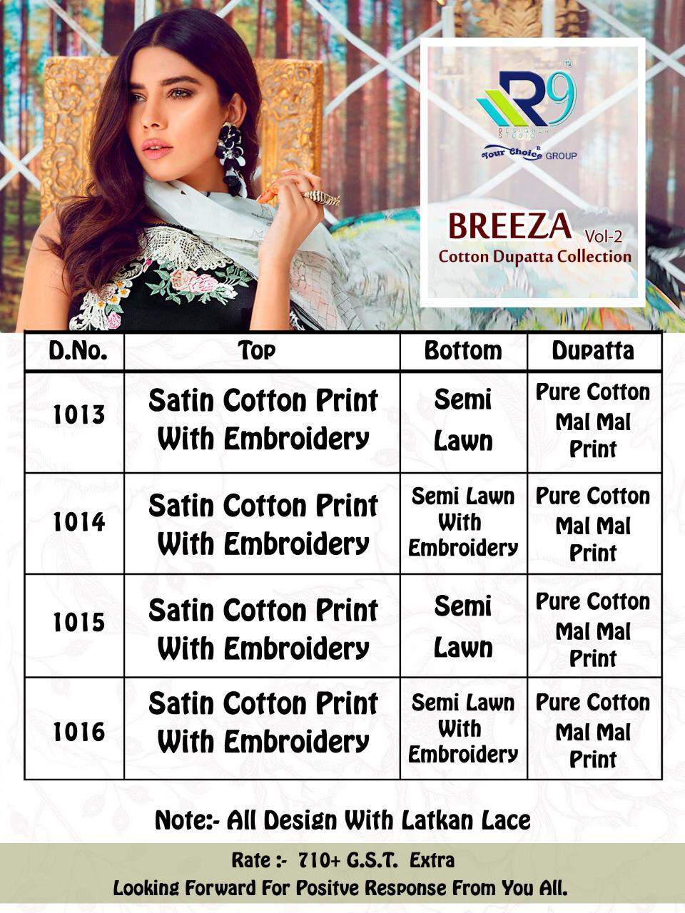 R9 Designer Breeza Vol 2 Printed Satin Cotton With Embroidery Work Pakistani Dress Material Collection
