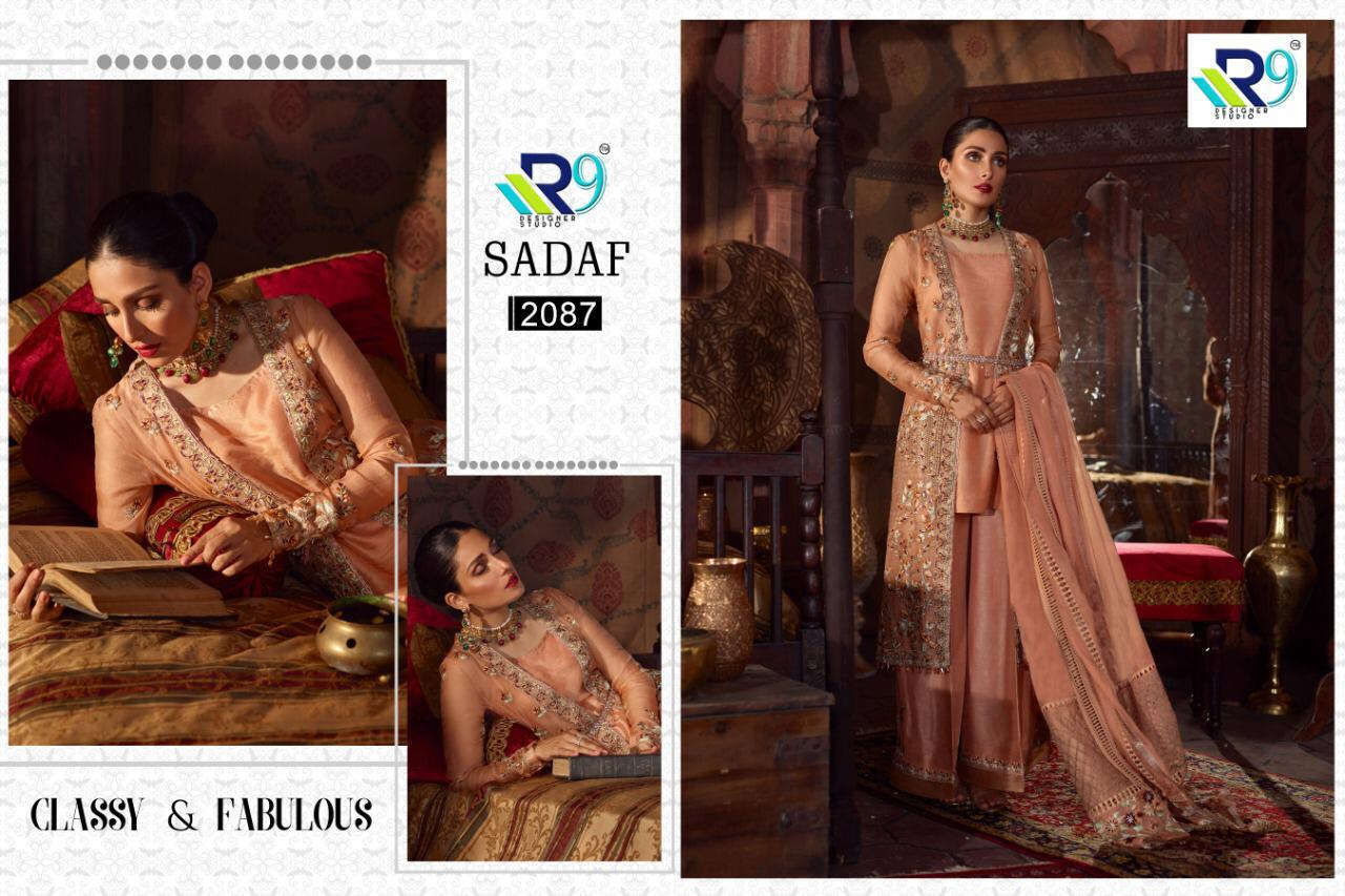R9 Designer Studio Sadaf Faux Georgette With Heavy Embroidery Work Pakistani Suit At Wholesale Rate