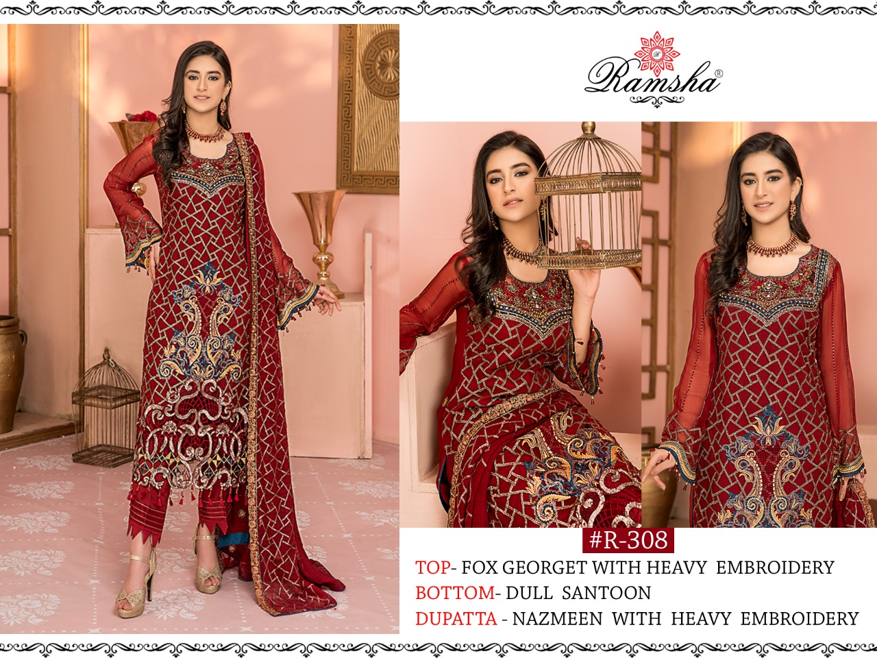 Ramsha R-308 Faux Georgette With Heavy Embroidery Work Pakistani Suits Collection At Wholesale Rate