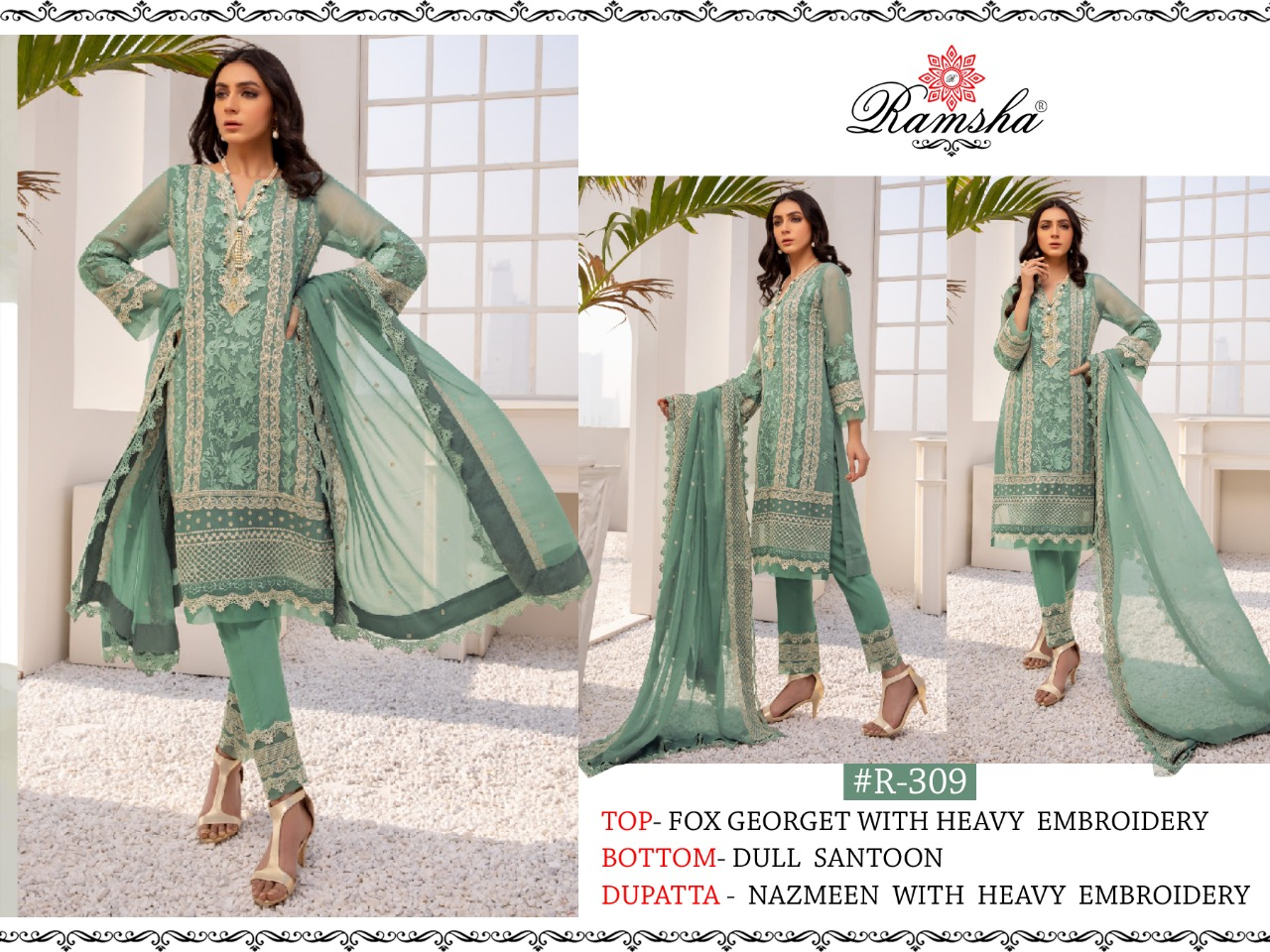 Ramsha R-309 Faux Georgette With Heavy Embroidery Work Pakistani Suits Collection At Wholesale Rate