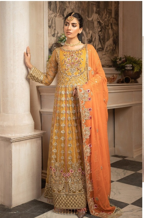Ramsha R-311 Net Kali With Heavy Embroidery Work Pakistani Suits Collection