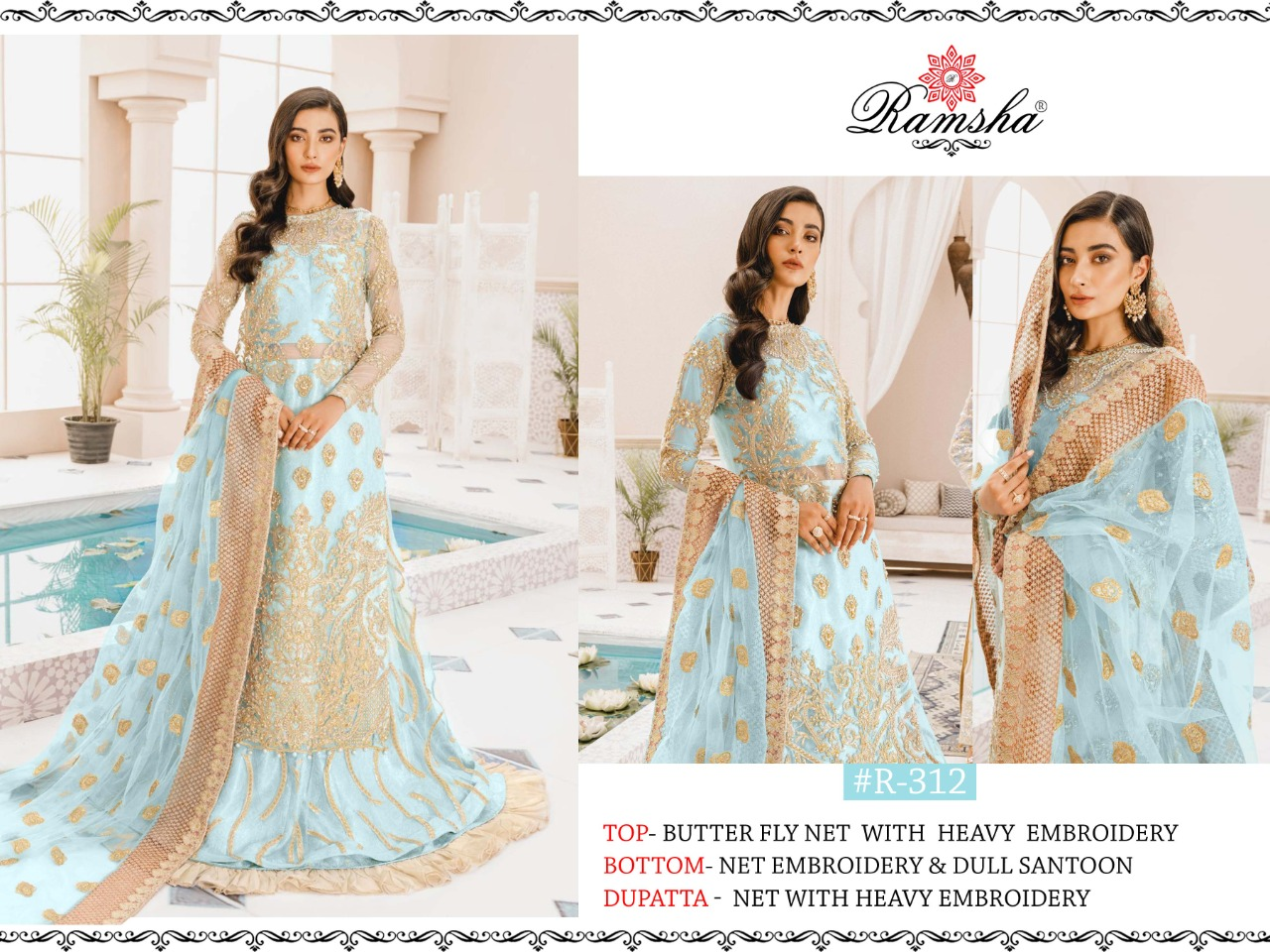 Ramsha R-312 Butterfly Net With Heavy Embroidery Work Pakistani Suits Collection At Wholesale Rate