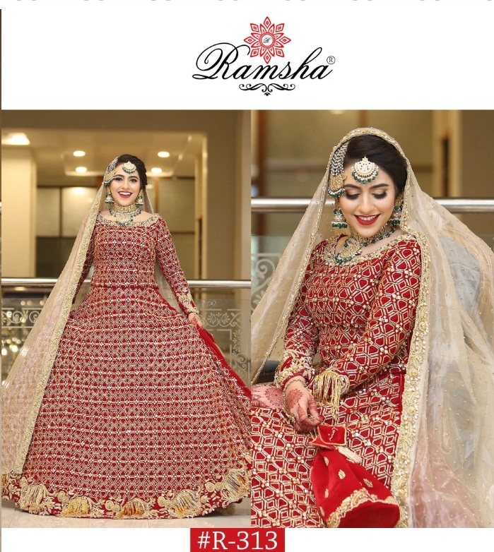 Ramsha R-313 Georgette With Heavy Embroidery Work Pakistani Suits Collection
