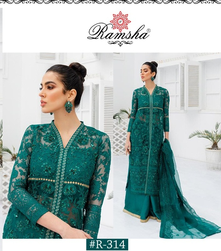 Ramsha R-314 Butterfly Net With Heavy Embroidery Work Pakistani Suits Collection At Wholesale Rate