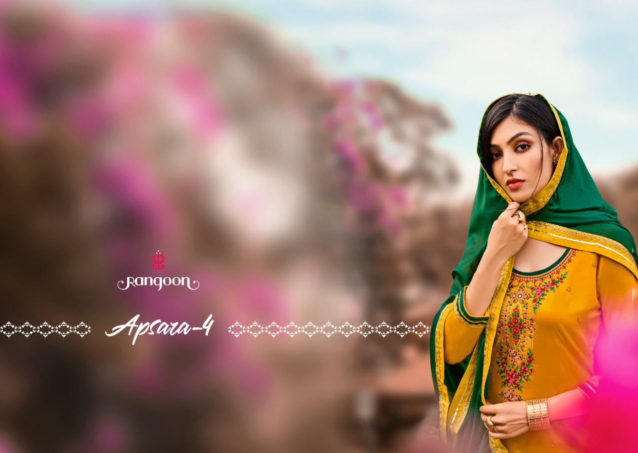 Kessi Fabrics Rangoon Apsara Vol 4 Jam Silk With Embroidery Work Readymade Salwar Suits Collection At Wholesale Rate