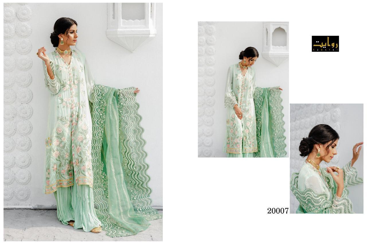 Rawayat Crossstitch Chiffon Georgette With Heavy Embroidery Work Pakistani Dress Material At Wholesale Rate