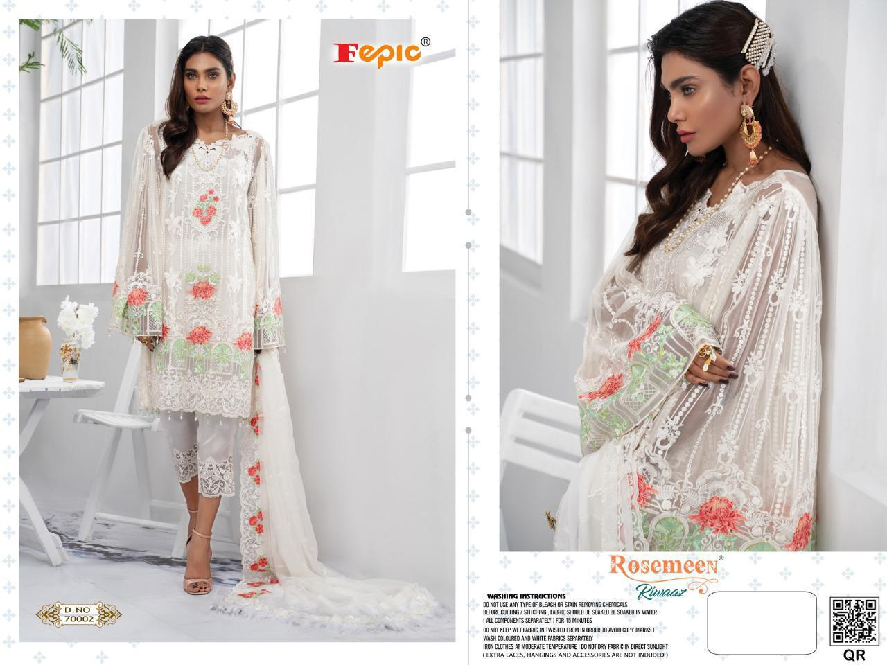 Fepic Rosemeen Riwaaz Georgette Organza Net With Embroidery Work Pakistani Dress Material At Wholesale Rate