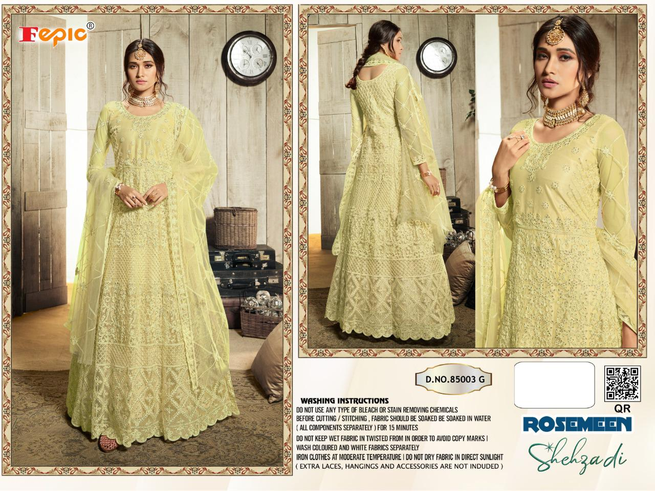 Fepic Rosemeen Shehzadi Blockbuster Vol 5 Net With Heavy Embroidery Work Pakistani Dress Material Collection At Wholesale Rate