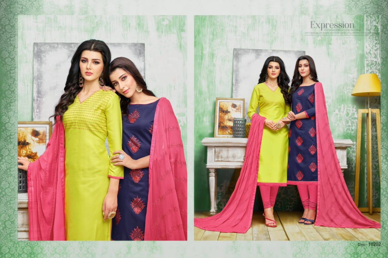 Rr Fashion Hum Tum Vol 13 Chanderi And Bombay Cotton Two Top Dress Material At Wholesale Rate