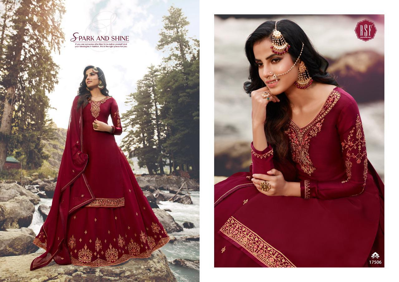 Rsf Mandora Vol 3 Pure Satin Georgette Silk With Heavy Embroidery Work Salwar Kameez At Wholesale Rate