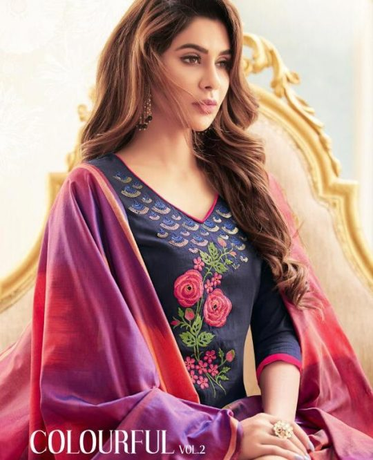 639c5651b3 Raghav Royals Colorful Vol 2 Printed Soft Cotton with Embroidery Work Dress  Material at Wholesale Rate