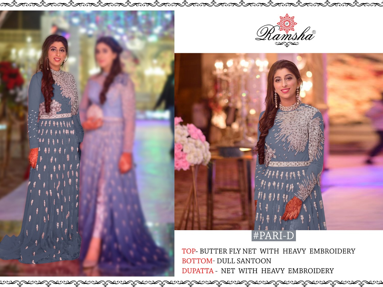 Ramsha Pari Net With Heavy Embroidery With Hand Work Pakistani Suits Collection At Wholesale Rate