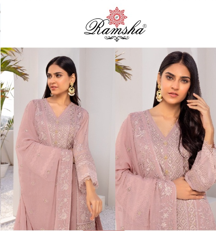 Ramsha R-310 Faux Georgette With Heavy Embroidery Work Pakistani Suits