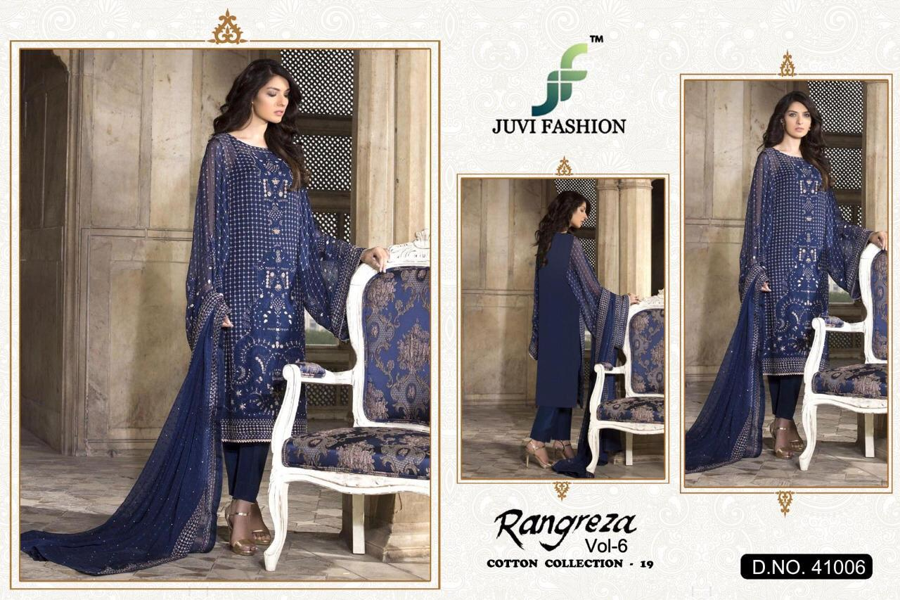 Juvi Fashion Rangreza Vol 6 Cambric Cotton With Heavy Embroidery Work Pakistani Suits Collection