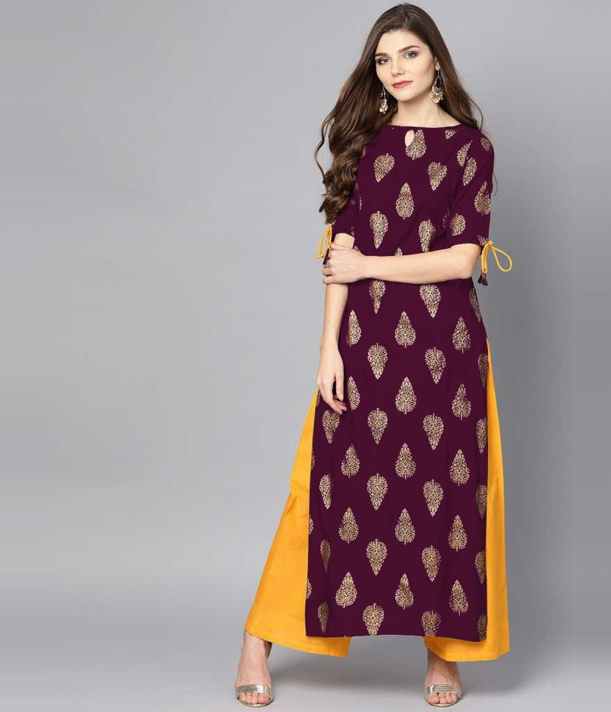 Rayon Cotton With Foil Print Kurti With Palazzo Collection At Wholesale Rate