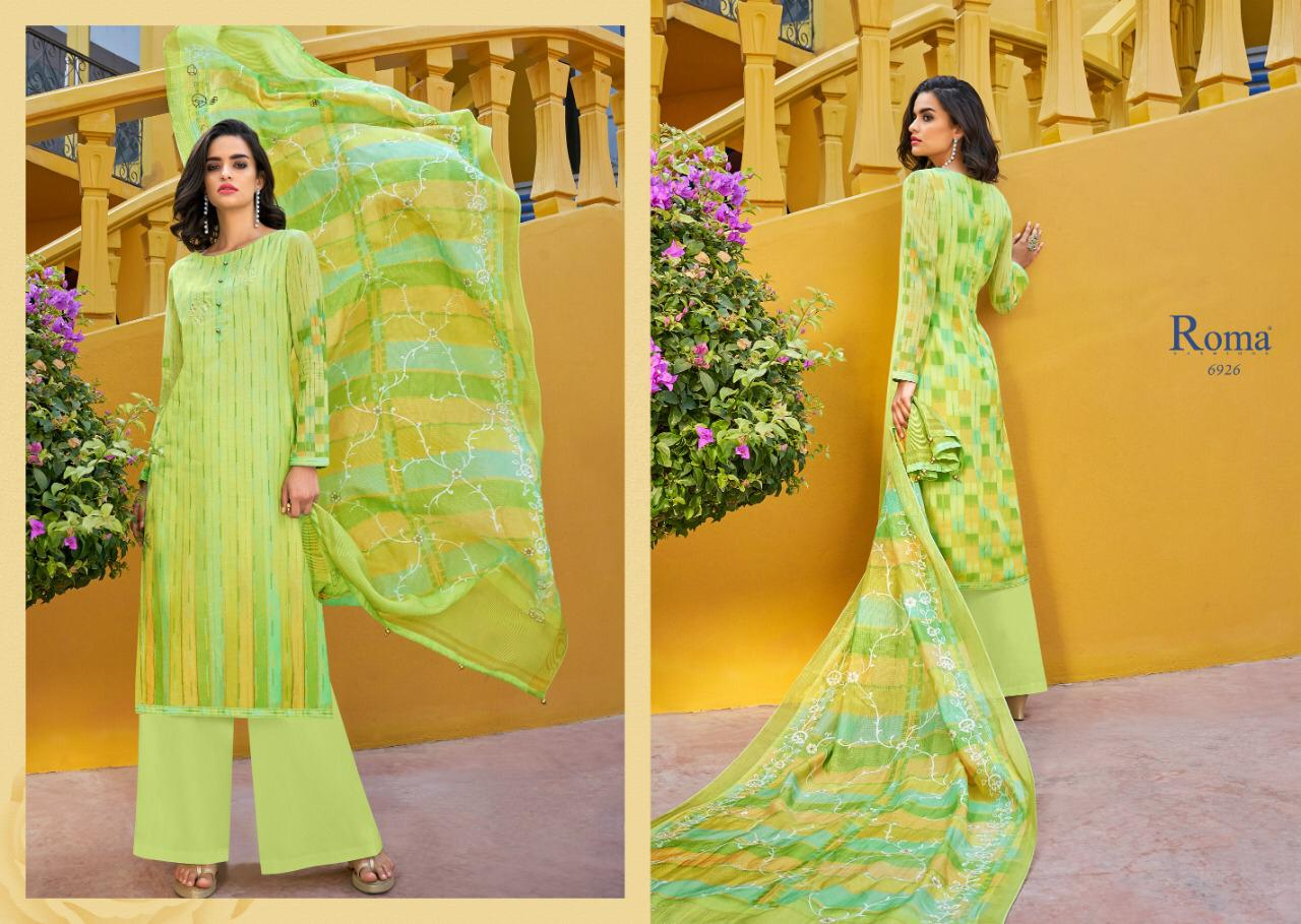 Jinaam's Dress Roma Fashion Yumna Digital Printed Muslin With Embroidery Work Dress Material Collection Surta