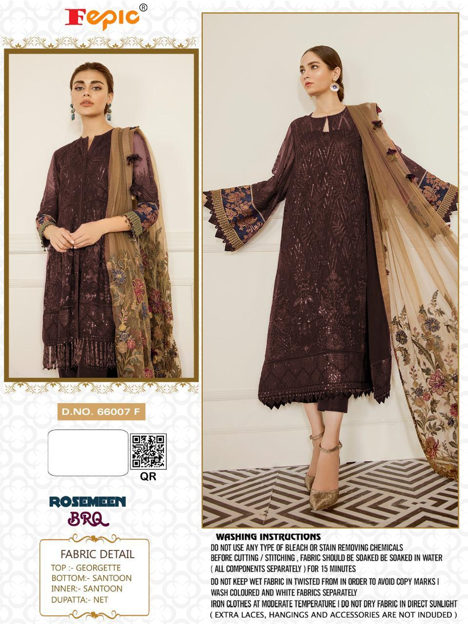 Fepic Rosemeen 66007 Series Georgette And Net With Heavy Embroidery Work Pakistani Dress Material Collection At Wholesale Rate