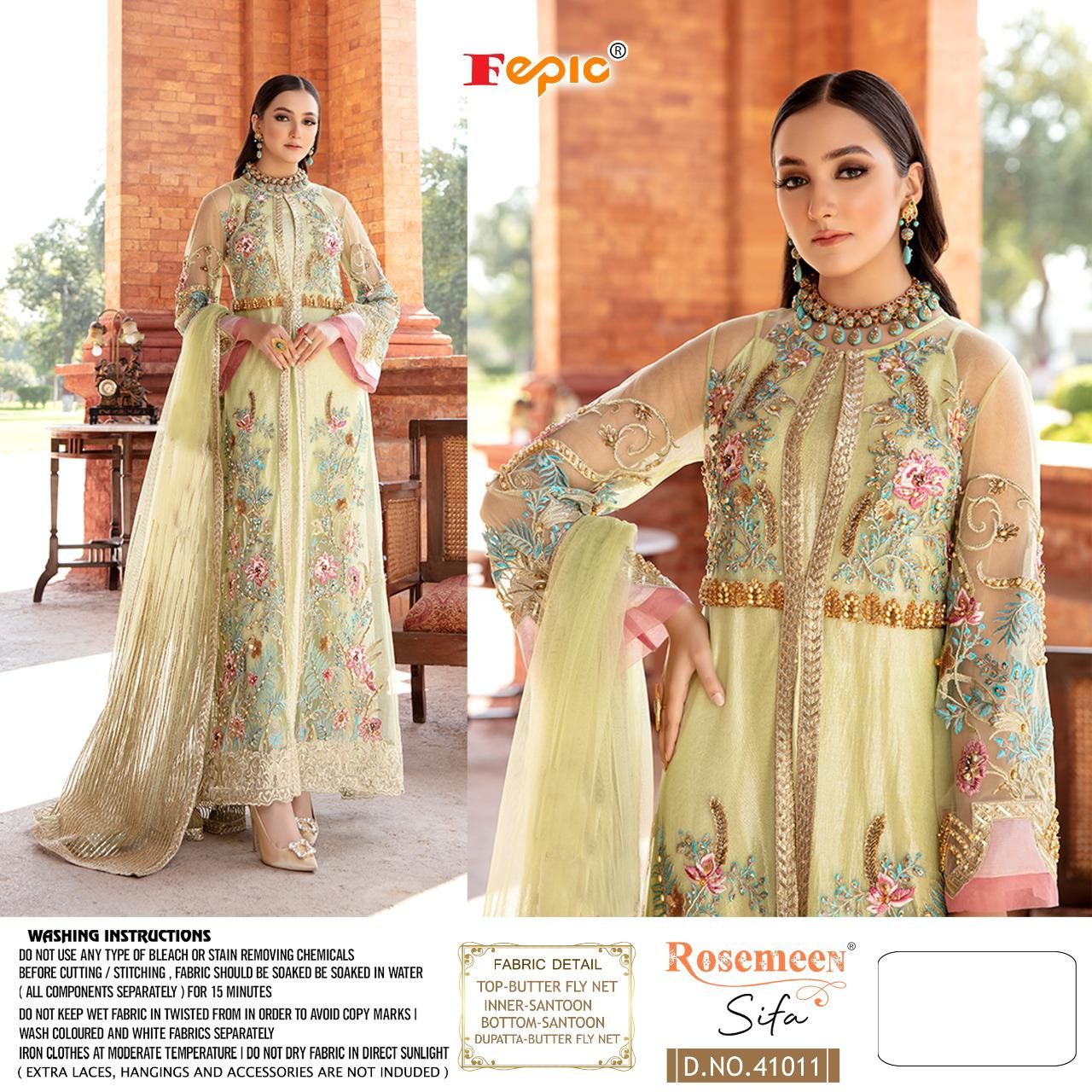 Fepic Rosemeen Sifa Faux Georgette With Heavy Embroidery Work Pakistani Collection At Wholesale Rate