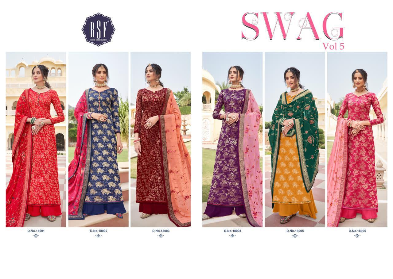 Rsf Swag Vol 5 Pure Silk Jacquard With Embroidery Handwork Dress Material Collection At Wholesale Rate