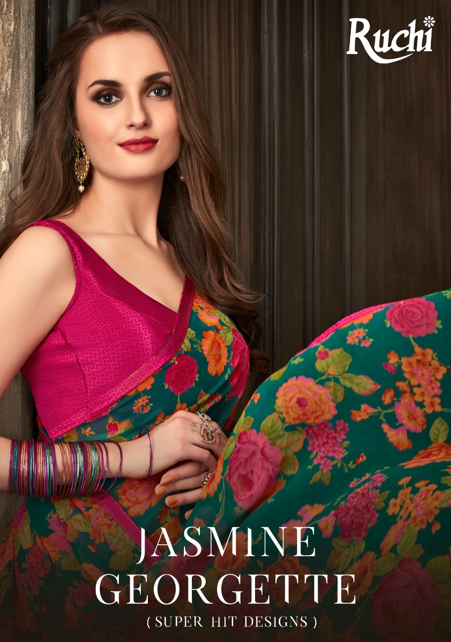 Ruchi Sarees Jasmine Georgette Printed Regular Wear Sarees Collection At Wholesale Rate