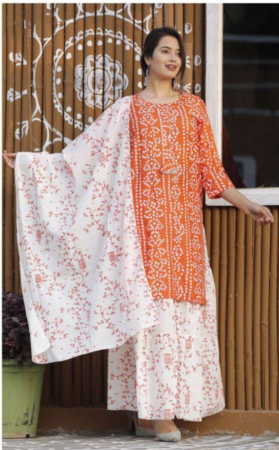 Rutba Khan Pure Rayon Cotton With Bandhani Print Kurti With Palazzo Dupatta Collection At Wholesale Rate
