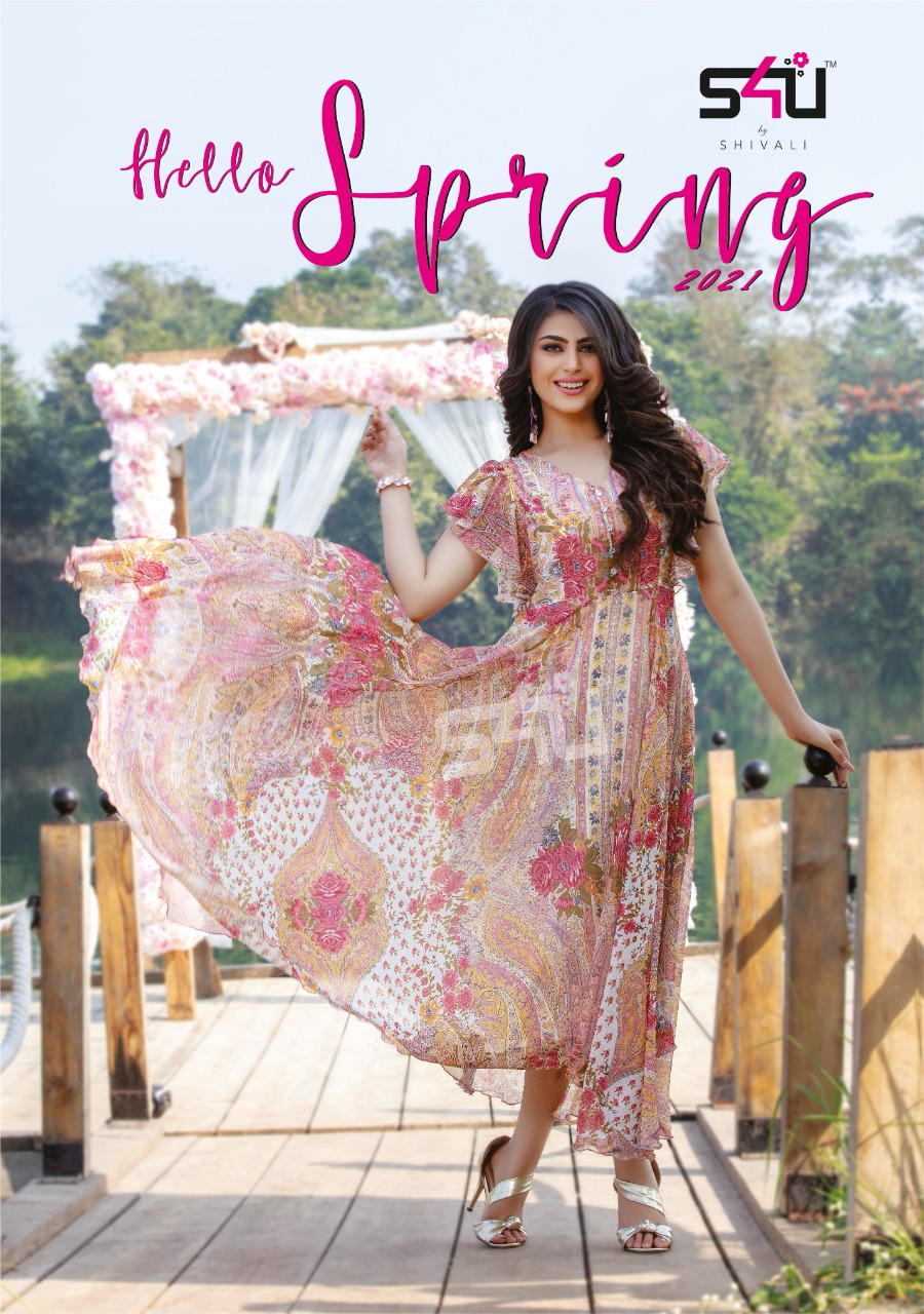 S4u Hello Spring 2021 Chiffon Floral Printed Long Frock Style Kurtis Collection At Wholesale Rate