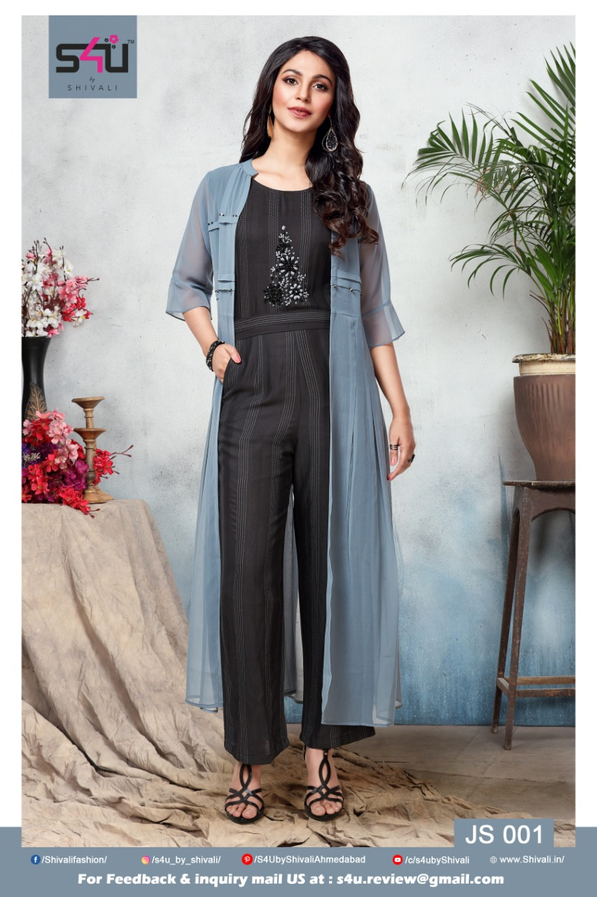 S4u Shivali Hello Jackets Jumpsuits Edition Designer Rayon Readymade Jumpsuits Collection At Wholesale Rate