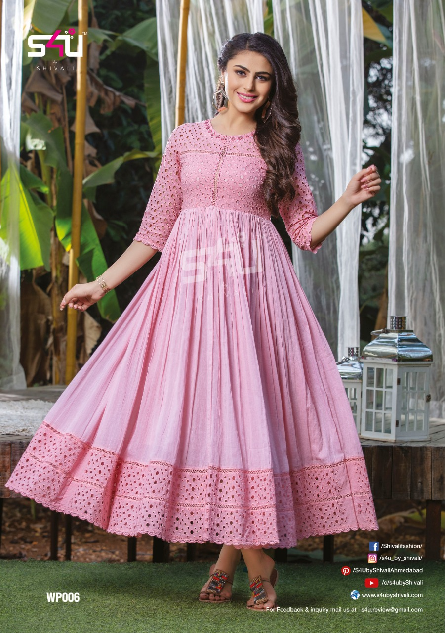 S4u Weekend Passions Cotton With Mal Mal Long Gown Style Kurtis Collection At Wholesale Rate