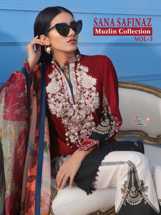 441fb88b21 Shree Fabs Sana Safinaz Muzlin Collection Vol 3 Printed Pure Cotton with  work Pakistani Suits Collection