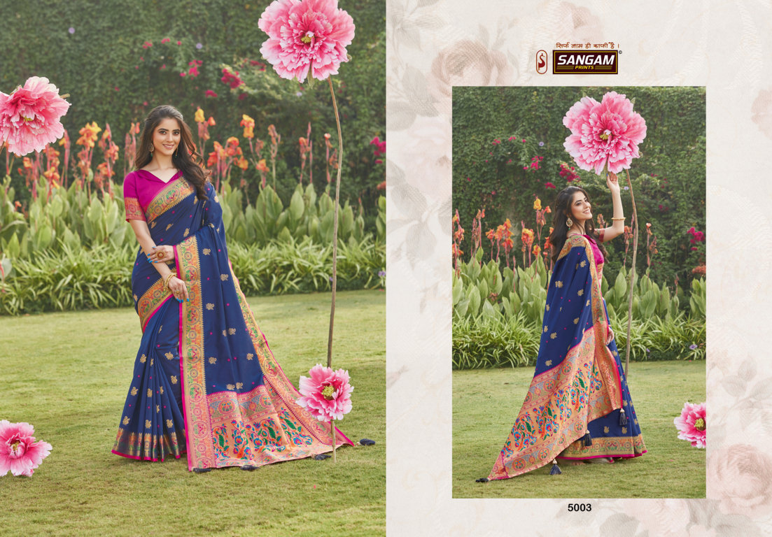 Sangam Prints Pattu Silk Traditional Sarees Collection At Wholesale Rate