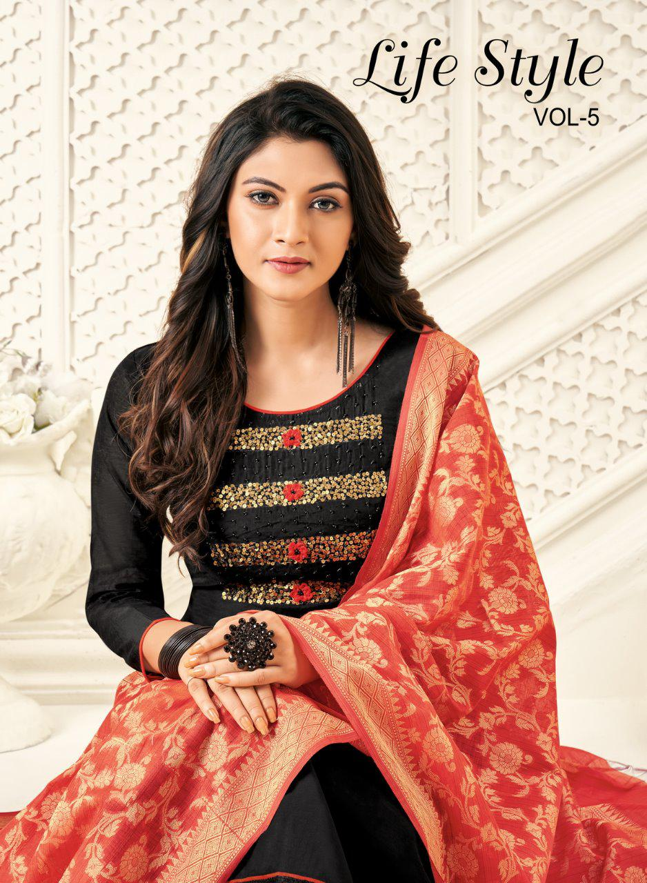 Shagun Lifestyle Life Style Vol 5 Modal Silk With Handwork Dress Material Collection At Wholesale Rate