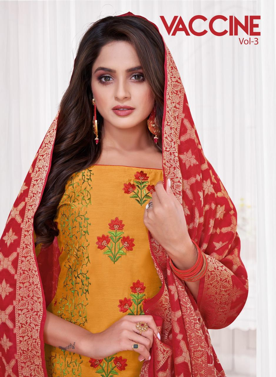 Shagun Lifestyle Vaccine Vol 3 Modal Silk With Embroidery Work Dress Material At Wholesale Rate