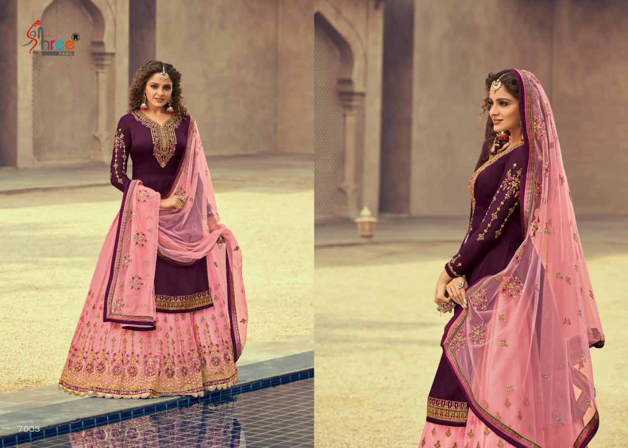 Shree Fabs Tehzeeb Satin Georgette With Heavy Embroidery Work Lehenga Style Suits At Wholesale Rate