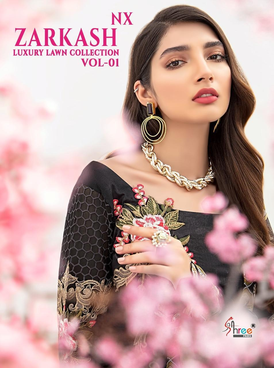 Shree Fab Zarkash Luxury Lawn Vol 1 Nx Lawn Cotton Print With Embroidery Pakistani Work Dress Material Collection At Wholesale Rate