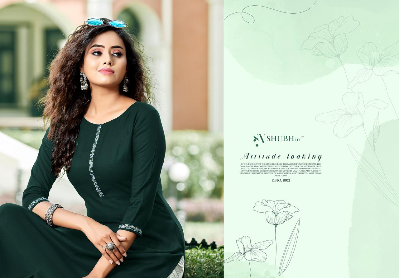 Shubh Nx Heer Rayon With Embroidery Work Kurtis Collection At Wholesale Rate
