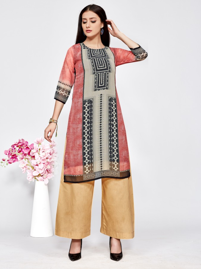Latest Designer Printed Georgette Readymade Straight Casual Kurtis At Wholesale Rate