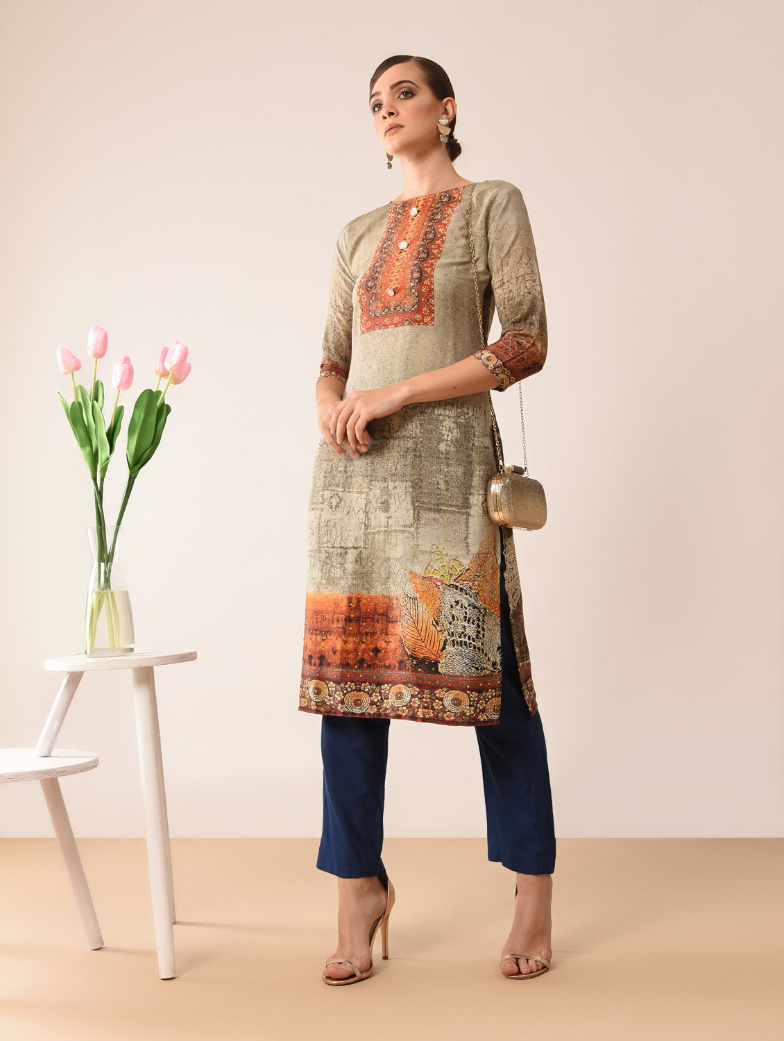 Designer Printed French Crepe Casual Readymade Kurtis Collection At Wholesale Rate