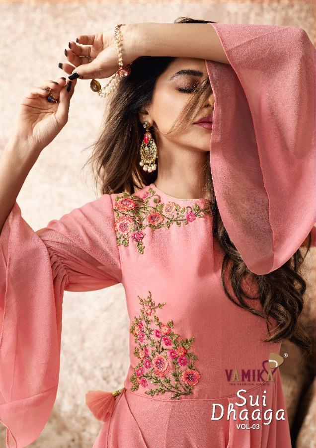 Arihant Nx Vamika Sui Dhaaga Vol 3 Georgette With Work Readymade Party Wear Gown Kurtis At Wholesale Rate