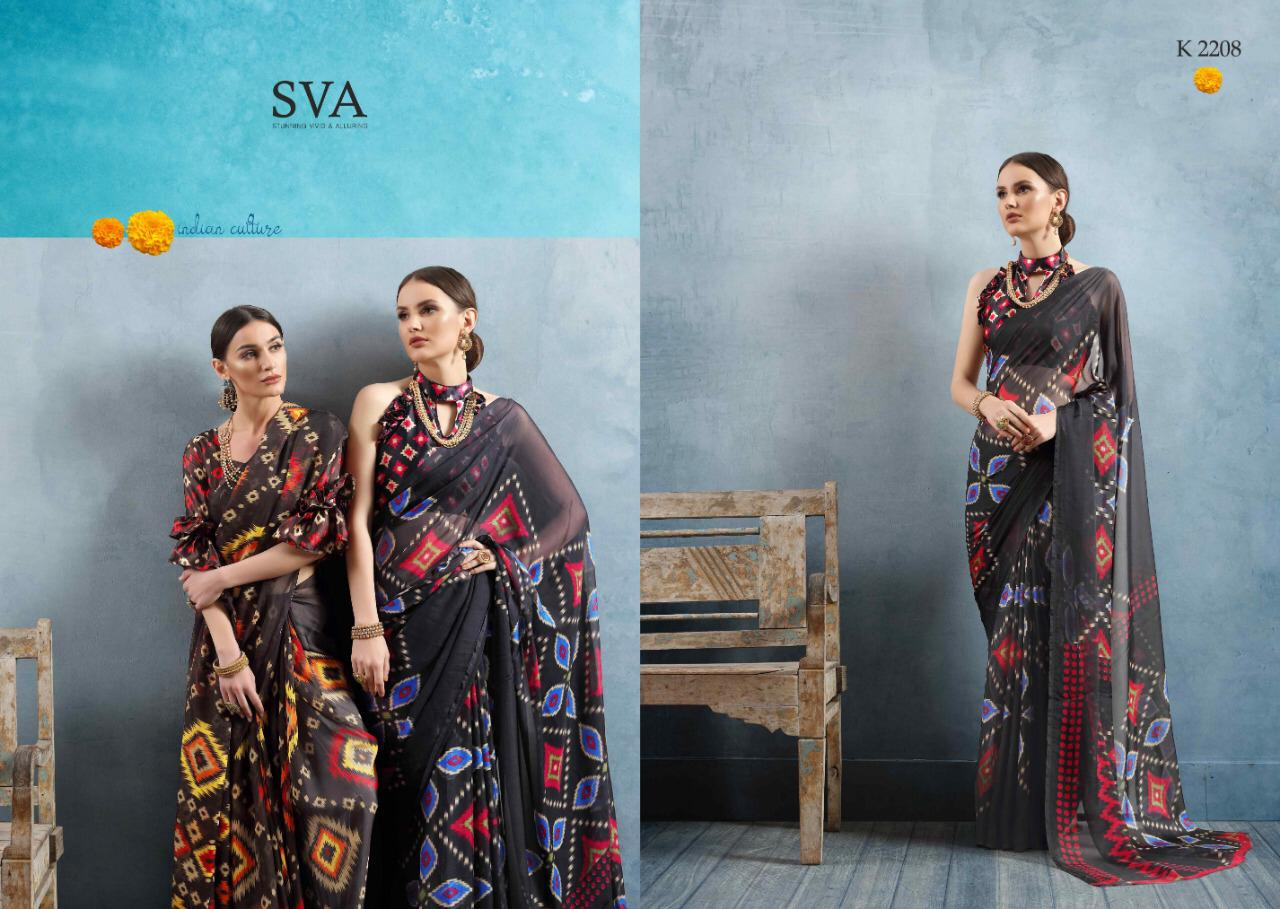 Sva Ethnic Printed Silk Stylish Sarees Collection At Wholesale Rate