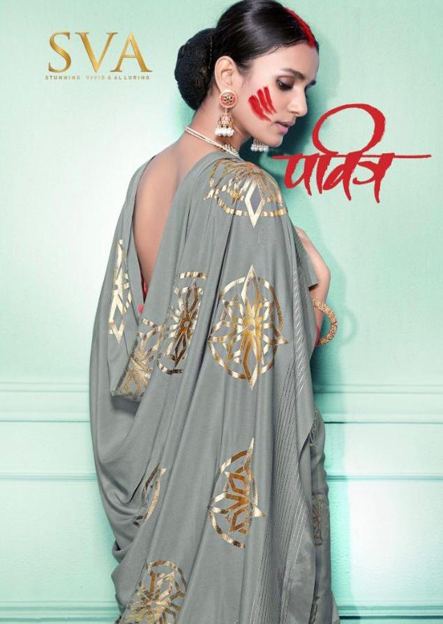 Sva Pavitra Pure Crepe Sarees Collection At Wholesale Rate