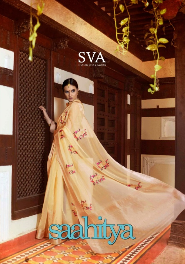 Sva Saahitya Designer Organza With Embroidery Work Party Wear Sarees At Wholesale Rate