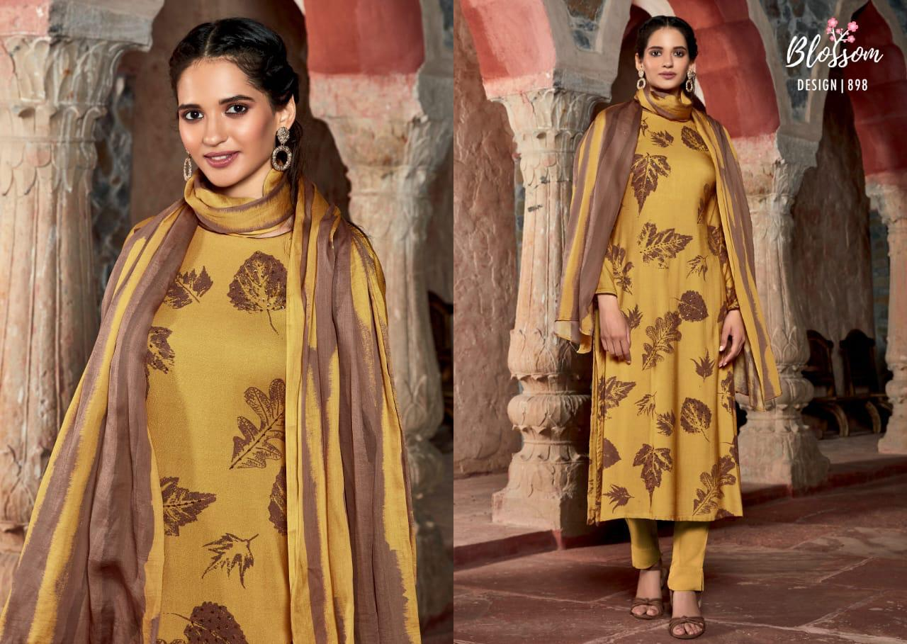 Sahiba Blossom Printed Pashmina With Embroidery Work Dress Material At Wholesale Rate