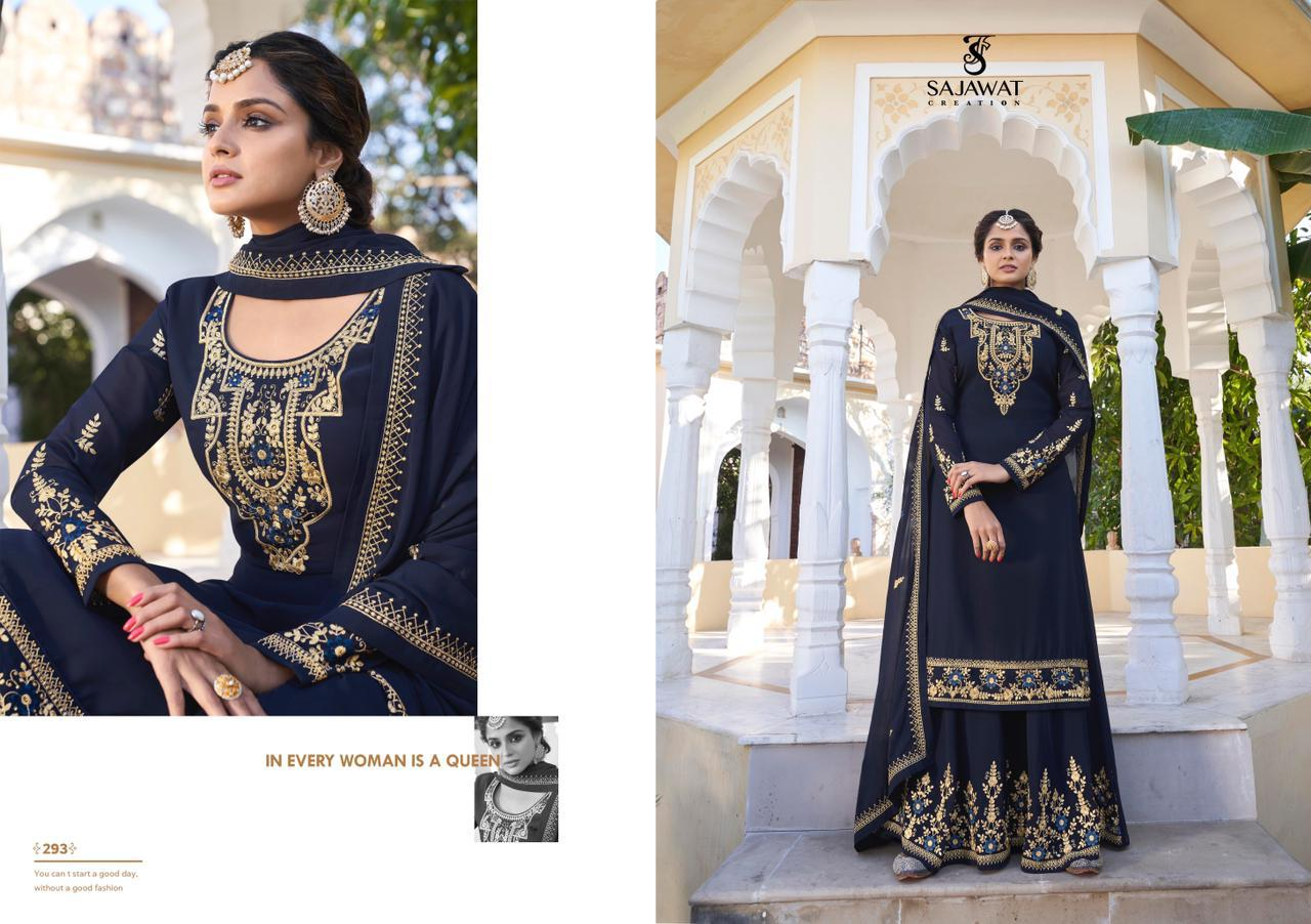 Sajawat Creation Rajani Vol 2 Heavy Faux Georgette With Embroidery Work Readymade Salwar Kameez Collection At Wholesale Rate