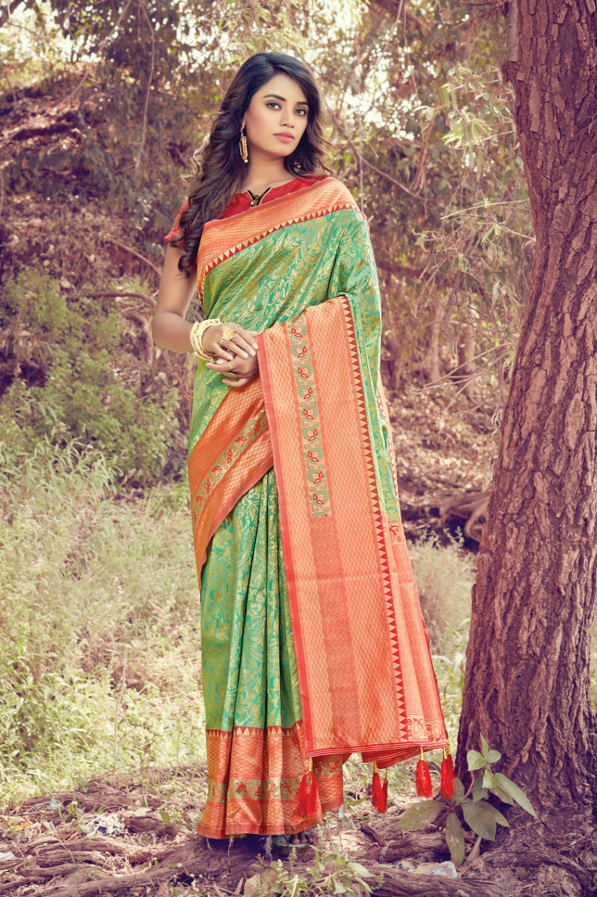 Sangam Prints Tanishq Silk With Weaving Traditional Sarees Collection At Wholesale Rate
