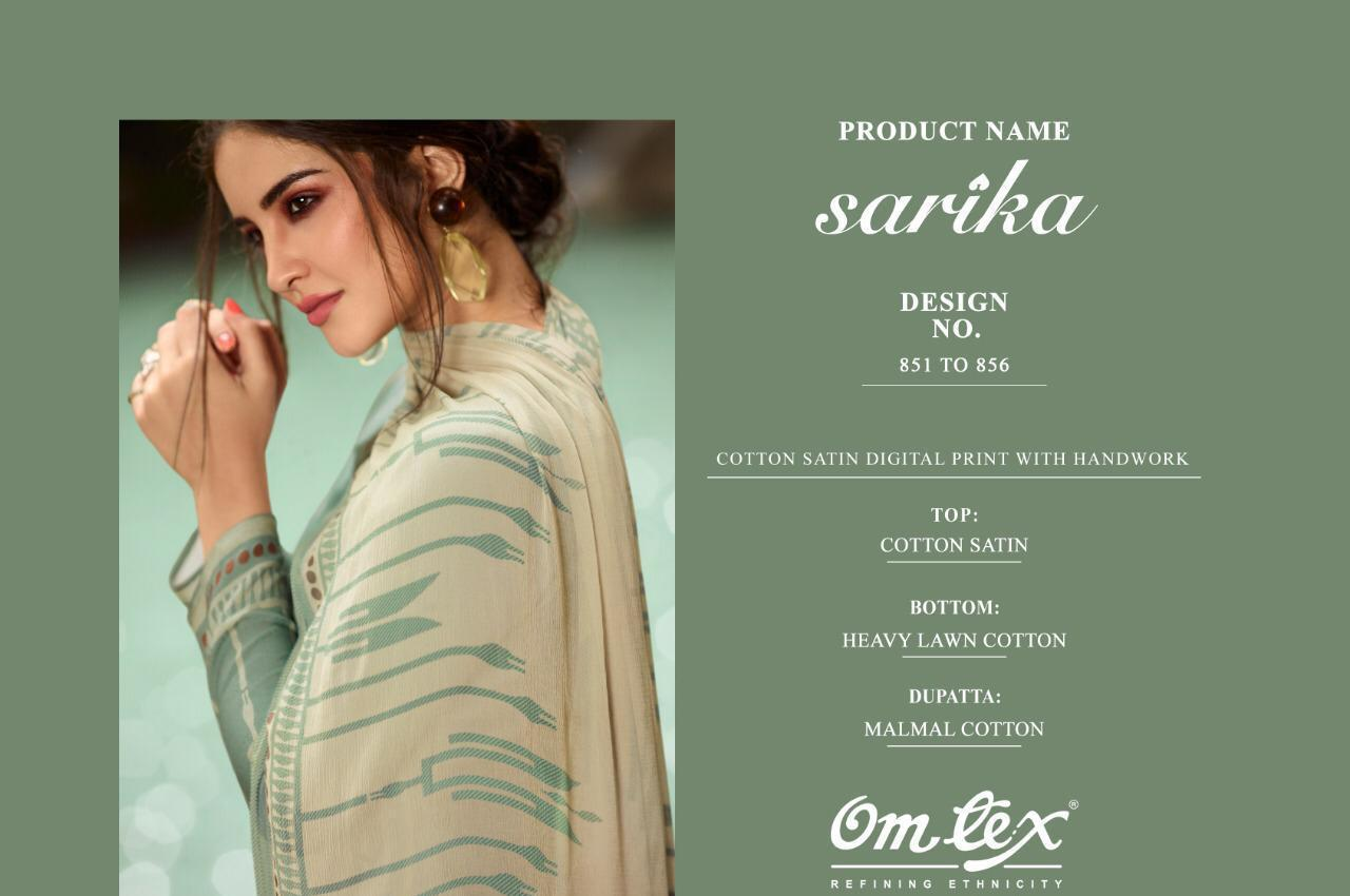 Om Tex Sarika 851-856 Series Heavy Cotton Satin Digital Print With Hand Work Dress Material At Wholesale Rate