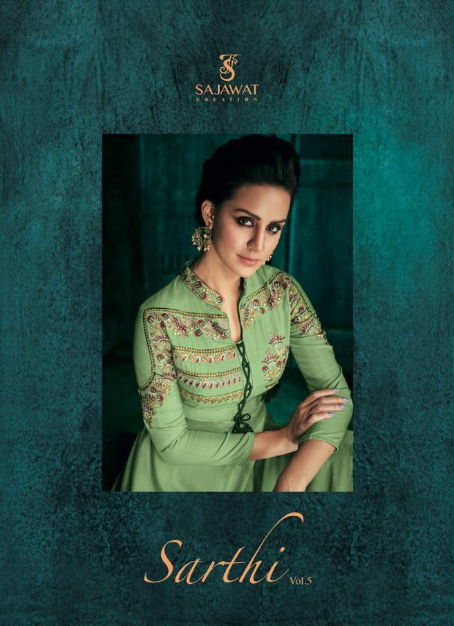 0d4d2d1a66 Sajawat Creation Sarthi Vol 5 Digital Printed Pure Heavy Maslin with  Embroidery Work Readymade Anarkali Suits Collection | Ethnic Export
