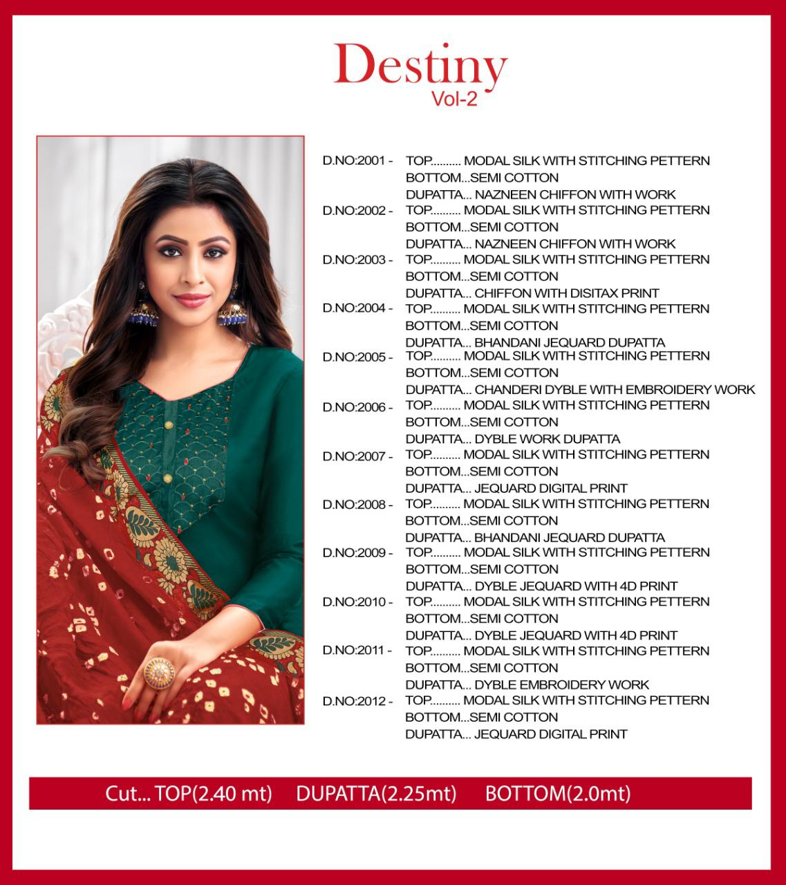 Shagun Lifestyle Destiny Vol 2 Modal Silk With Work Dress Material At Wholesale Rate