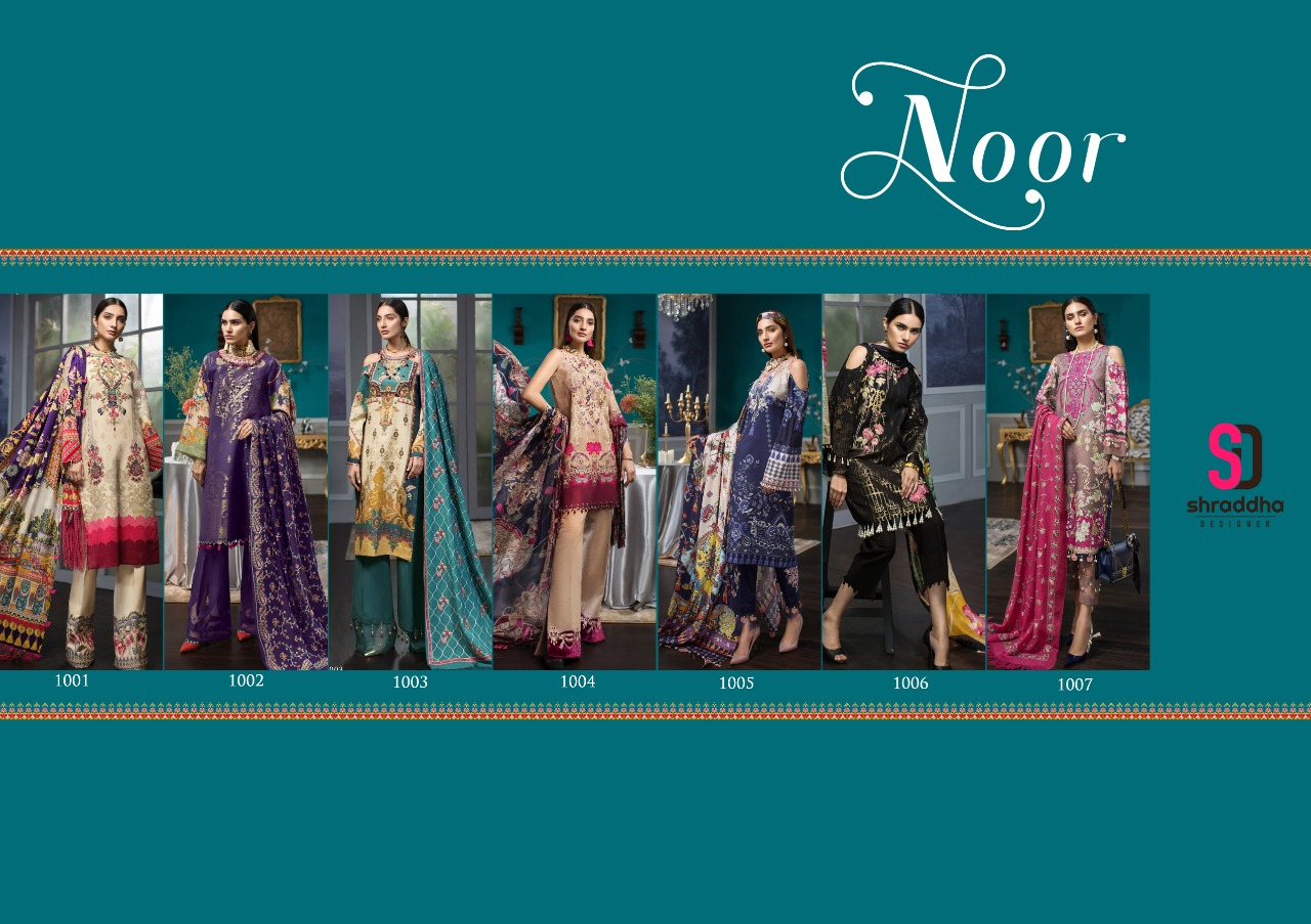 Shraddha Designer Noor Printed Cotton Solid Satin With Embroidery Work Pakistani Dress Material Collection